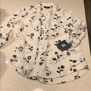 Tops - NWT Black & White Button Up Blouse